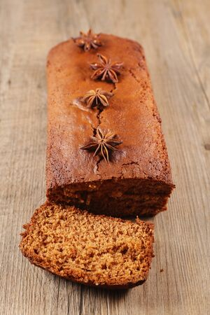 gingerbread cake with spices, top view