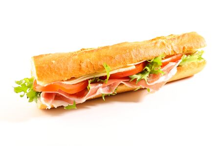 bread baguette sandwich with tomato, cheese and ham Stockfoto
