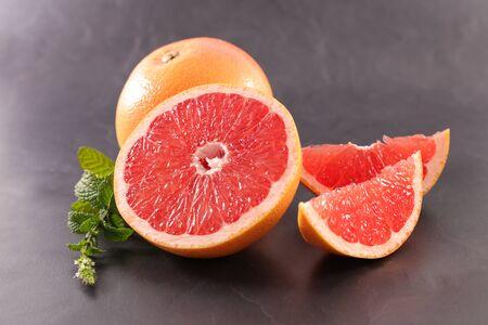 fresh grapefruit half and slice