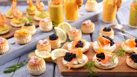 assorted of canape- appetizer,snack buffet food