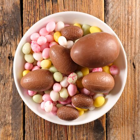 easter egg candy and chocolate egg