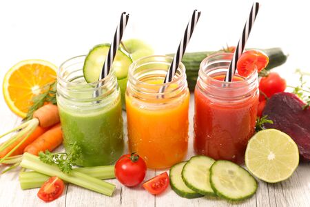 assorted of fruit and vegetable juice
