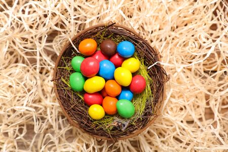 nest with colored easter egg Фото со стока
