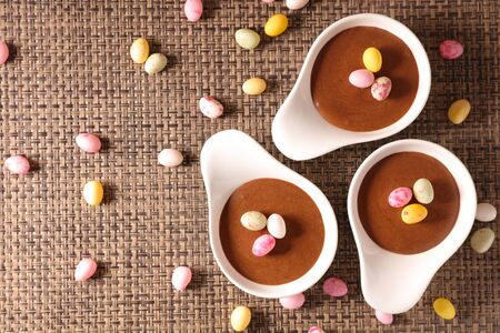 chocolate mousse and easter egg candy