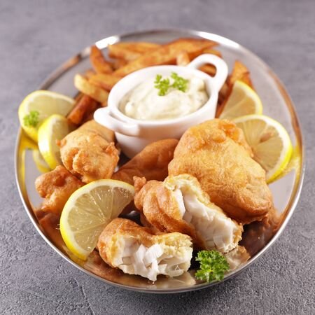traditional fish and chips- tartar sauce