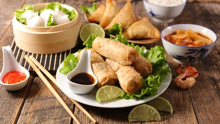 assorted of asian food- spring roll, noodles soup, dim sum Reklamní fotografie