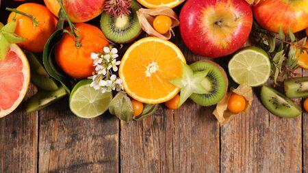 citrus fruit- orange, lemon and grapefruit collection Imagens