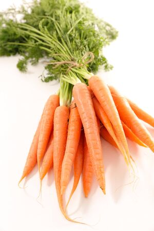 fresh carrot and leaf on white background