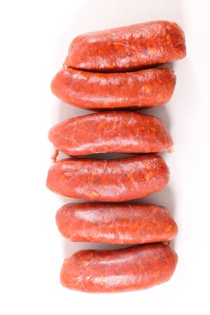 raw sausage, chorizo isolated on white background Banque d'images