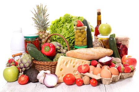 assorted of grocery with dairy product, fruit, vegetable, bread,wine