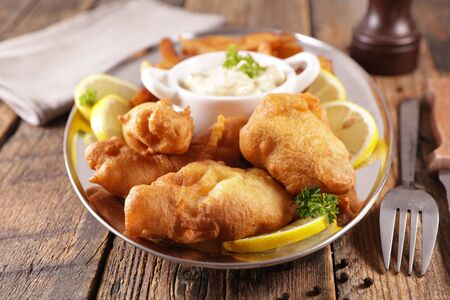 traditional fish and chips with tartar sauce