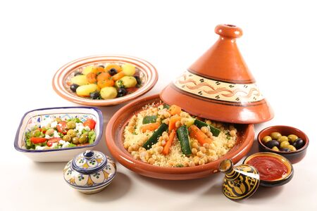 morrocan dish- couscous, tagine, olive, salad