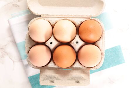 box of eggs- top view