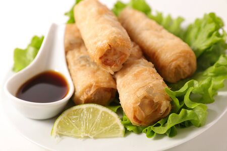 fried spring roll with soy sauce and lettuce