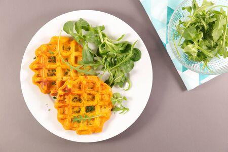 sweet potato waffle and salad
