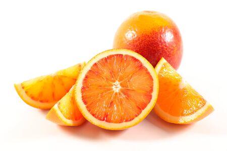 orange half and slices isolated on white background