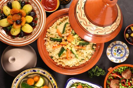 assorted of moroccan dishes- couscous, tagine, meatball