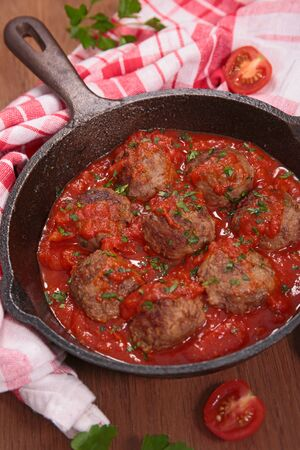 meatball with tomato sauce in casserole