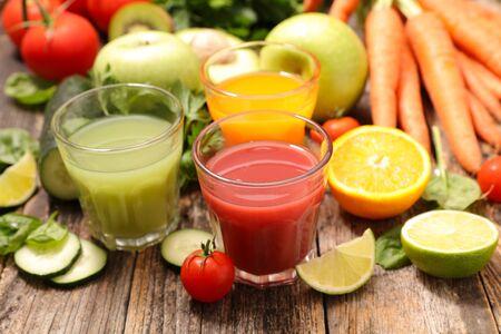 assorted of fruit and vegetable juice- detox summer drink Reklamní fotografie