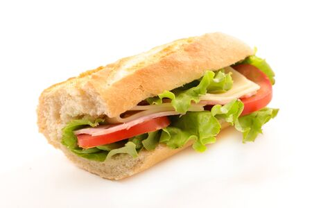 sandwich, baguette with ham, cheese and tomato isolated on white background
