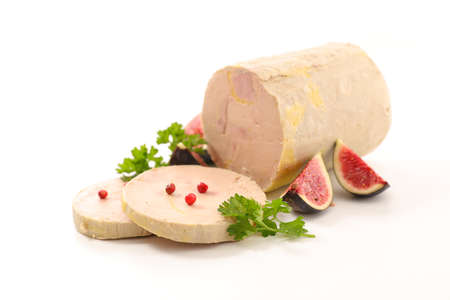 foie gras with fresh fig isolated on white background