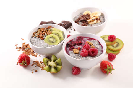 assorted of chia pudding with fresh fruits and cereal