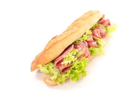sandwich- bread baguette with salami and lettuce