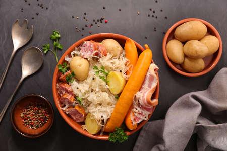 sauerkraut with potato and sausage