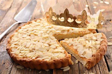 almond cake on wood background- epiphany cake Stock Photo