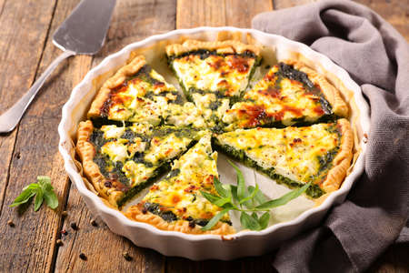 vegetable quiche- spinach, cream and cheese Reklamní fotografie