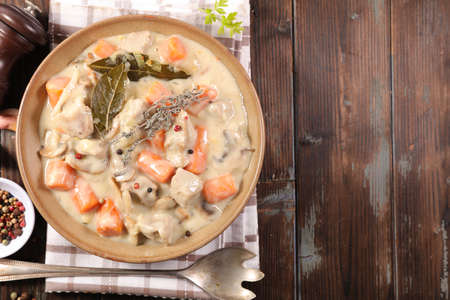 veal cooked with cream and carrot