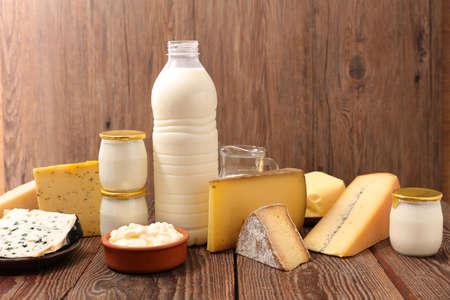 dairy product assorted on wood background Zdjęcie Seryjne