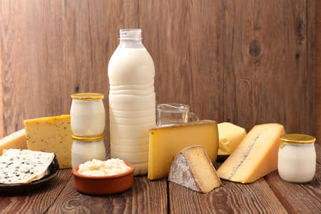 dairy product assorted on wood background Imagens