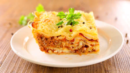 lasagna with minced beef, tomato sauce and cheese 版權商用圖片