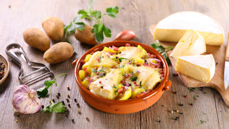 french tartiflette- baked cheese, potato and bacon