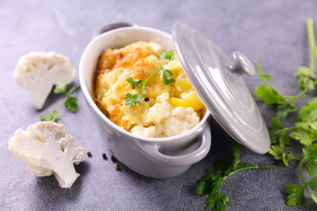 baked cauliflower with cream and cheese