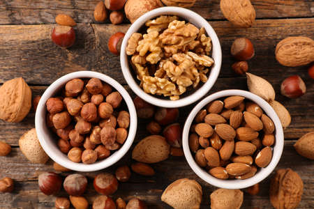 assorted of nuts- hazelnut, almond and walnut