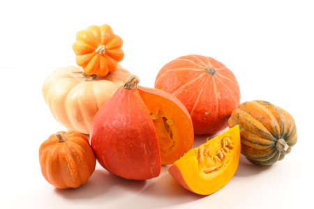 assorted of raw pumpkin on white background