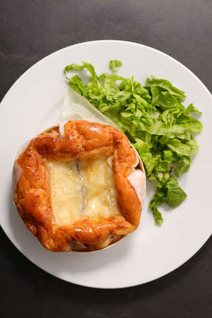 baked camembert with lettuce- top view