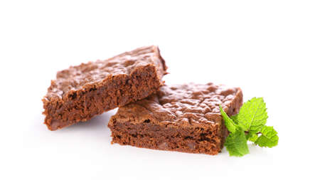 chocolate brownie isolated on white background