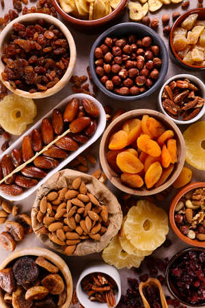 collection of dried fruits- top view