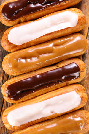 french coffee, vanilla and chocolate eclair