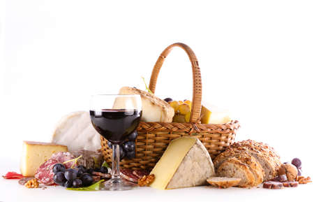 wineglass with cheese and bread isolated on white background