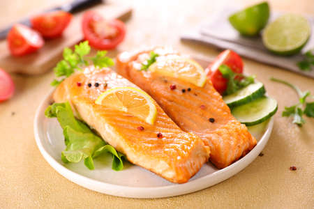 grilled salmon fillet with vegetable