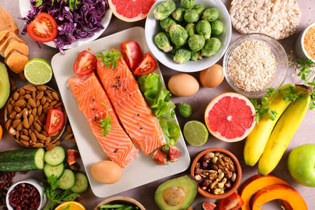 health food selection- top view 版權商用圖片