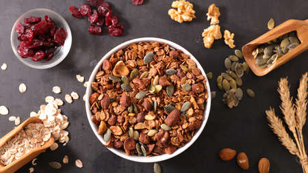 homemade granola with cereals and dried fruits