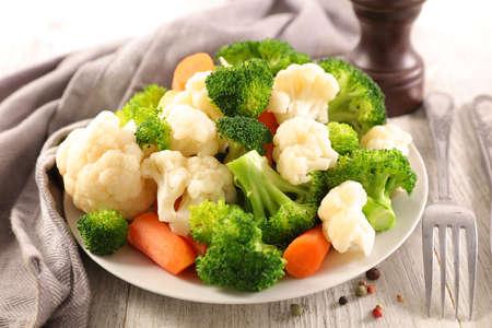 broccoli, cauliflower and carrot- vegetarian dish