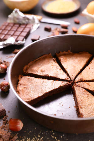 chocolate cake with ingredient- top view