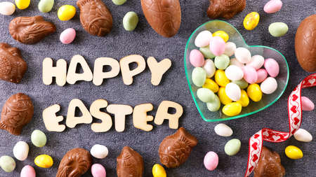 happy easter and chocolate easter egg decoration
