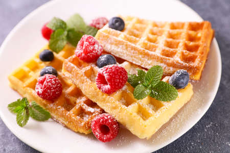 waffle with fresh berries fruits